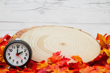 wood plaque: Some fall leaves with cut wood plaque and an alarm clock on weathered wood with copy space for message Stock Photo