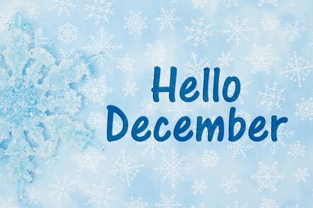 bienvenida: Un copo de nieve con un fondo azul y blanco de los copos de nieve con el texto Hola diciembre