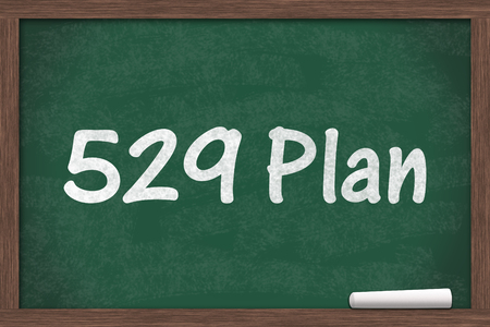 post secondary schools: Chalkboard with a piece of chalk and text 529 Plan