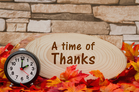wood plaque: Some fall leaves, an alarm clock and wood plaque on weathered brick with text A time of Thanks