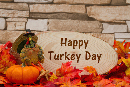 wood plaque: Some fall leaves, turkey on a pumpkin and wood plaque on weathered brick with text Happy Turkey Day Stock Photo