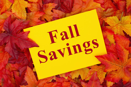 Some fall leaves with a yellow greeting card with text Fall Savings Imagens