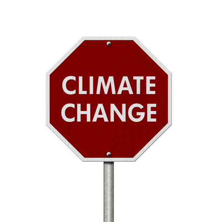 Red stop road sign with words Climate Change isolated over white Stock Photo