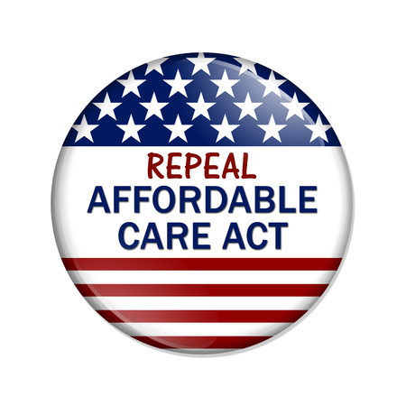 overwhite: American election button with words Repeal Affordable Care Act isolated over white