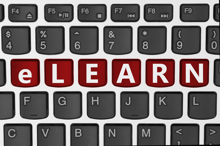 elearn: Taking courses and learning online, A close-up of a keyboard with red highlighted text elearn