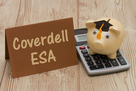 post secondary schools: A golden piggy bank with grad cap on a calculator on a desk with text Coverdell ESA Stock Photo