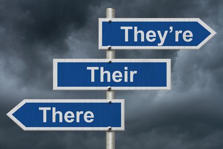青い道路標識の言葉で彼らは、その嵐の空の背景が