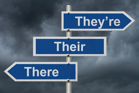 grammatical: Blue road sign with words Theyre, Their and There with stormy sky background