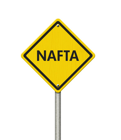 nafta: Yellow caution sign with words NAFTA isolated over white