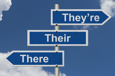 grammatical: Blue road sign with words Theyre, Their and There with sky background