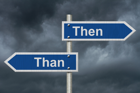 grammatical: Learning to use proper grammar, Blue road sign with words Then Than with stormy sky background Stock Photo
