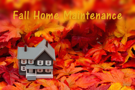 home maintenance: Home maintenance for the fall season, Some fall leaves and gray house with text fall home maintenance