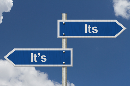 grammatical: Learning to use proper grammar, Blue road sign with words Its Its with sky background Stock Photo