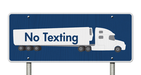 txt: No Texting Road Sign,  A blue Road Sign with text No Texting and a truck isolated over white