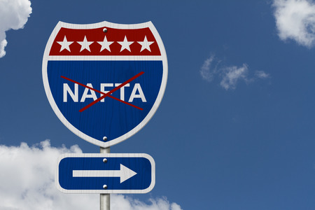 nafta: North American Free Trade Agreement sign, Red, white and blue interstate highway road sign with words NAFTA marked out with sky background Stock Photo