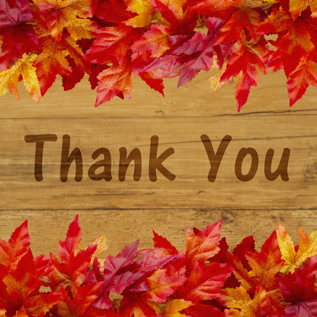 caes: Thank you message, Some fall leaves on weathered wood with text Thank You