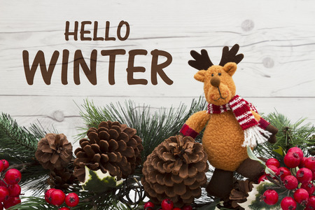 Old fashion winter message, Garland with a reindeer, pine cones and red holly berries on weathered wood background with text Hello Winter