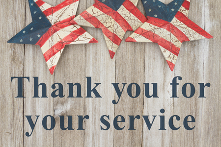USA patriotic thank you message, USA patriotic old flag on a stars with weathered wood background with text Thank you for your service Standard-Bild