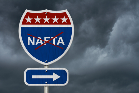 nafta: North American Free Trade Agreement sign, Red, white and blue interstate highway road sign with words NAFTA marked out with stormy sky background