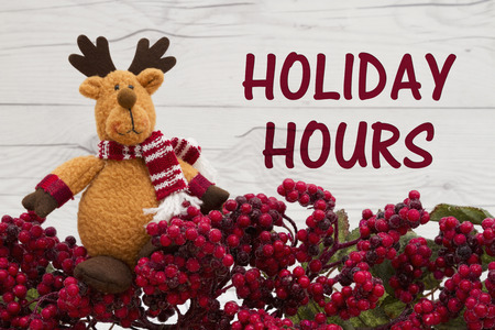 Old fashion Christmas store message, Frost covered red holly berries with a reindeer on weathered wood background with text Holiday Hours