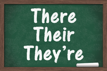 grammatical: Learning to use proper grammar, Chalkboard with a piece of chalk and text There Their Theyre