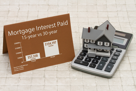 Learning about mortgage interest rates costs, House on a calculator with a card and an infographic on the mortgage interest paid