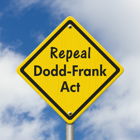 Dodd-Frank Act yellow warning road sign, Yellow caution sign with words Repeal Dodd-Frank Act with sky background