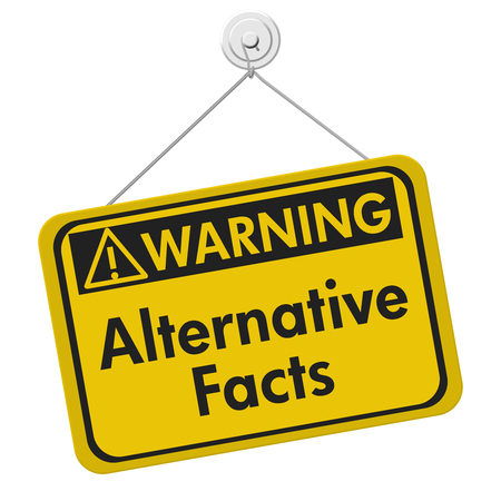 disinformation: Alternative Facts warning sign, A yellow warning hanging sign with text Alternative Facts isolated over white Stock Photo