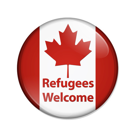 Canada verwelkomt vluchtelingen knop, Canadese knop met Canadese vlag met tekst Vluchtelingen welkom geïsoleerd over wit