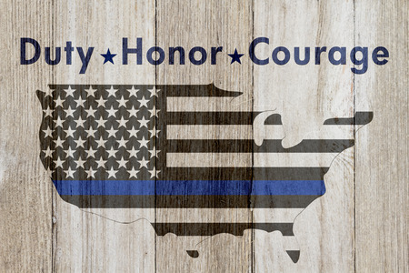 hallowed: Duty Honor and Courage message, USA thin blue line flag on a map on a weathered wood background with text Duty Honor  Courage
