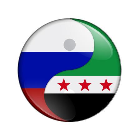 Rusland en Syrië werken samen, de vlag van Rusland en de Syrische vlag op een yin-yang-symbool geïsoleerd over wit Stockfoto