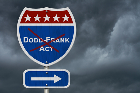Repealing and replacing the Dodd-Frank Act, Red, white and blue interstate highway road sign with text Dodd-Frank Act with stormy sky background 版權商用圖片
