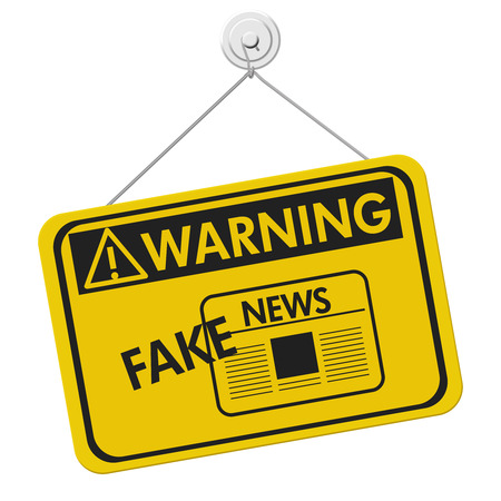 disinformation: Fake News warning sign, A yellow warning hanging sign with text Fake News isolated over white