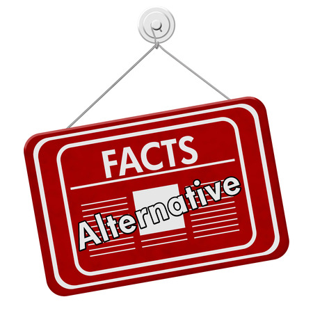 disinformation: Alternative facts sign, A red hanging sign with text Alternative Facts and newspaper icon isolated over white