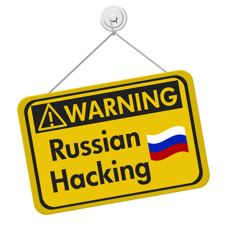 isolation: Russian hacking warning sign, A yellow warning hanging sign with text Russian hacking isolated over white