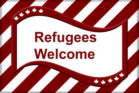 Canada verwelkomt vluchtelingen, een rode en witte vlag met esdoornblad met tekst Vluchtelingen welkom geïsoleerd over wit