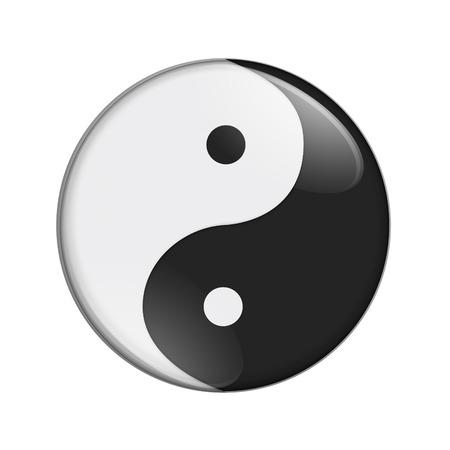 Black and white yin yang symbol isolated over white Zdjęcie Seryjne