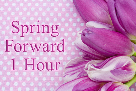 Spring Forward message, A bouquet of purple tulips on pink polka dots with text Spring Forward 1 hour