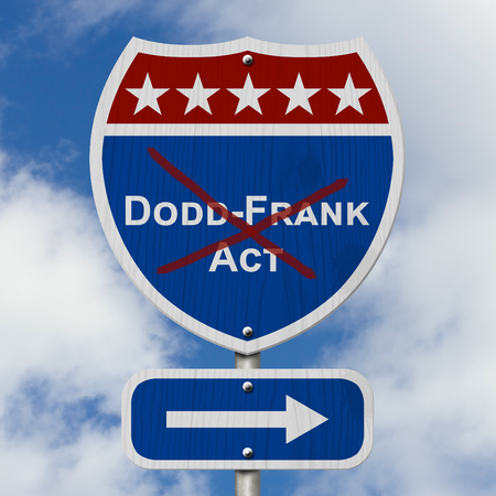 Repealing and replacing the Dodd-Frank Act, Red, white and blue interstate highway road sign with text Dodd-Frank Act with sky background