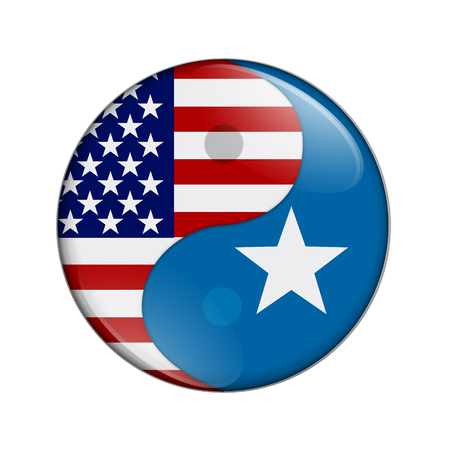 somalian: USA and Somalia working together, The US flag and Somalian flag on a yin yang symbol isolated over white