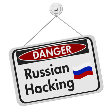 over black: Russian hacking danger sign, A black and white danger hanging sign with text Russian hacking isolated over white Stock Photo