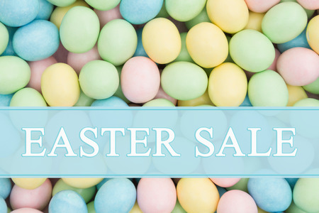 An ad for an Easter sale, Retro Easter eggs candy with text Easter Sale