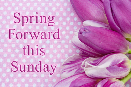 Spring Forward message, A bouquet of purple tulips on pink polka dots with text Spring Forward this Sunday