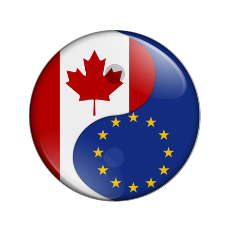 Canada and EU working together, The Canadian flag and EU flag on a yin yang symbol isolated over white Фото со стока