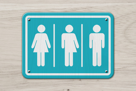 All inclusive transgender sign, Teal and white sign with a woman, a transgender and man symbol on weathered wood Stockfoto