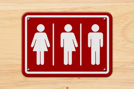 Signo de transgénero todo incluido, Signo de rojo y blanco con una mujer, símbolo de transgénero y hombre en madera
