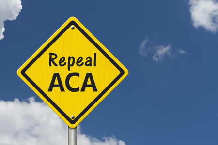 Repealing and replacing the Affordable Care Act healthcare insurance, Yellow warning highway road sign with words repeal ACA with sky background Stock Photo