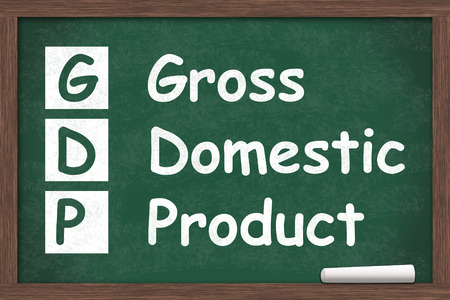 Learning about gross domestic product, Chalkboard with a piece of chalk with text GDP Stock Photo