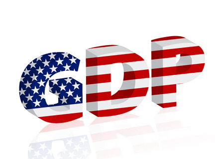 United States GDP, 3D word GDP in the American flag colors isolated over white Stock Photo