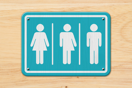 All inclusive transgender sign, Teal and white sign with a woman, a transgender and man symbol on wood Stock Photo - 78528277